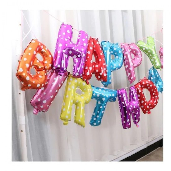 Set baloane litere multicolore Happy Birthday