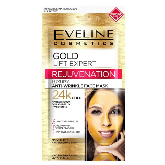 Masca luxurianta de fata Eveline Cosmetics Gold Lift Expert, 3 in 1 antirid, cu aur de 24K