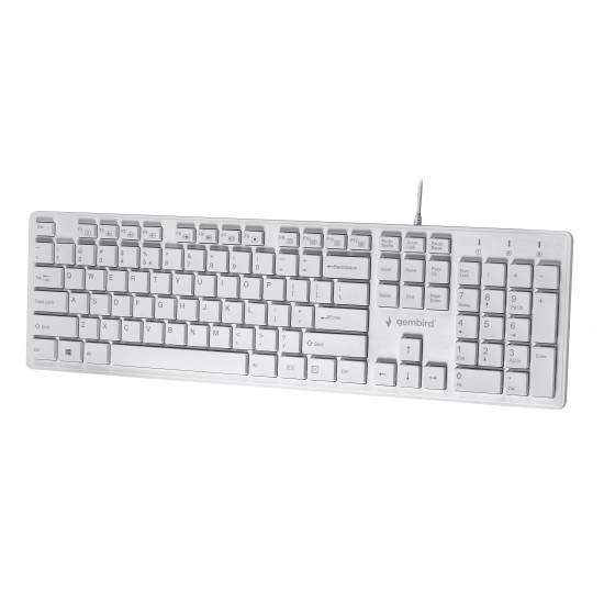 Tastatura multimedia cu fir Gembird Chocolate, US layout, Alb