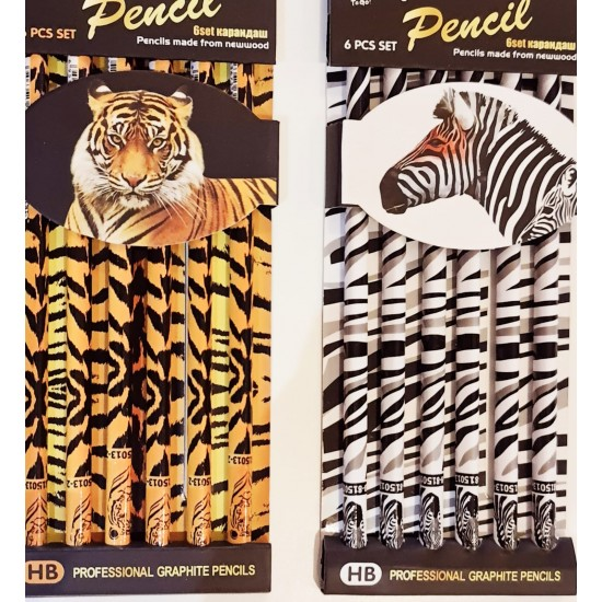 Set 6 creioane grafit profesionale HB, Animal Print